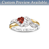 """Hearts Of Love"" Engraved Garnet And Topaz Embrace Ring"