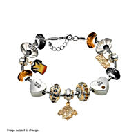Wests Tigers Charm Bracelet with Swarovski Crystals
