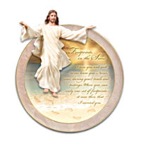 Footprints In The Sand Collector Plate With Sculptural Jesus