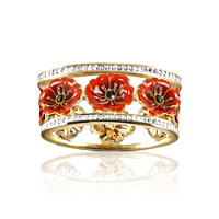 'Lest We Forget' Enamel Poppy Ring With Swarovski® Crystals