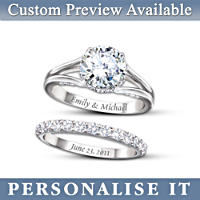 Diamonesk® Bridal Ring Set With Engraved Names And Date