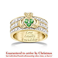 \'Blessing Of The Claddagh\' Emerald And Diamond Ring