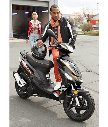 mofaroller nova sport 50 ccm 25 km h schwarz orange. Black Bedroom Furniture Sets. Home Design Ideas