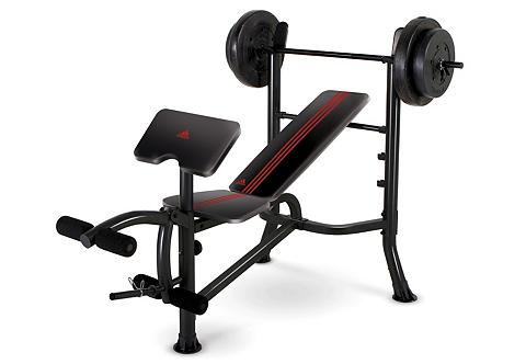 Hantelbank, incl. Langhantelstange mit 45 kg Gewichte, Adidas