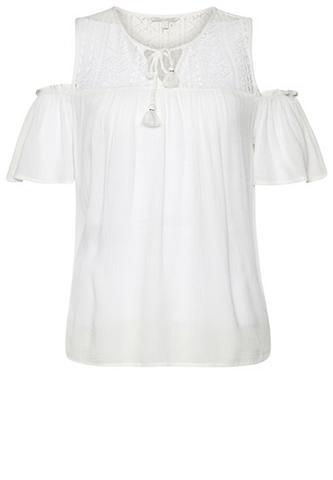 TOM TAILOR DENIM Bluse »Bluse mit Spitze im oberen Bereich«