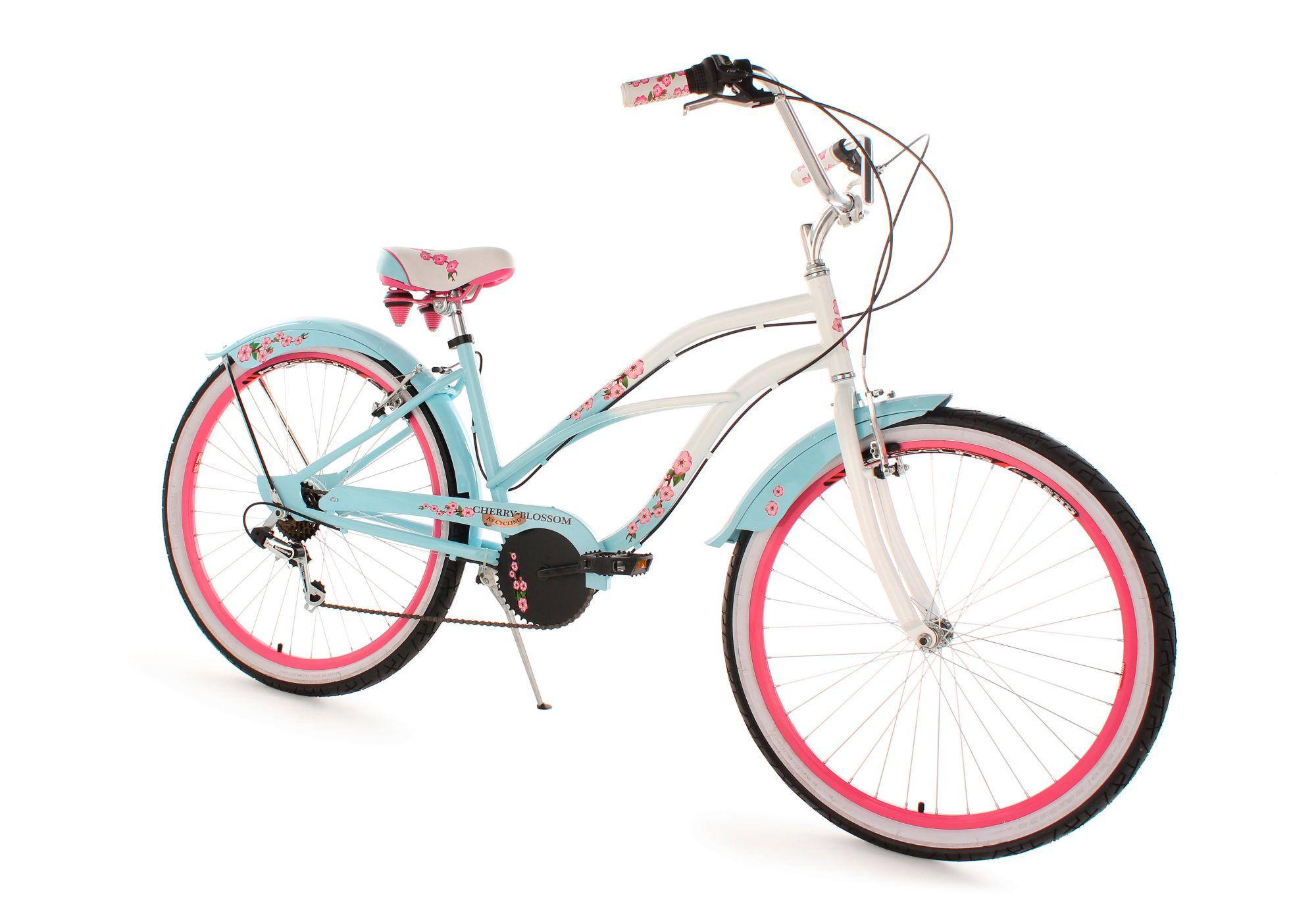 KS CYCLING Beachcruiser Damen, 26 Zoll, 6-Gang Shimano Tourney Kettensch., blau, »Cherry Blossom«, KS Cycling