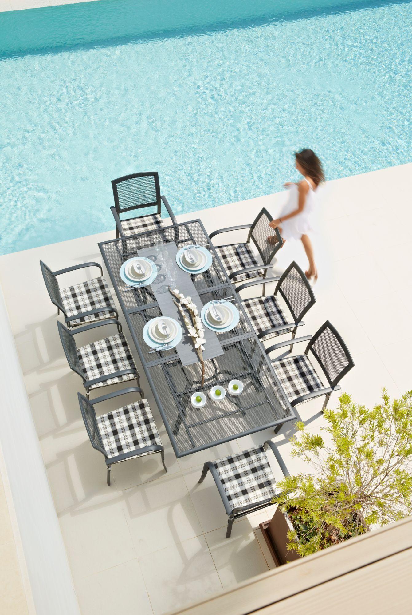 17-tgl. Gartenmöbelset »Montreal«, 8 Sessel + Auflagen, Tisch180-240 cm, Alu/Textil