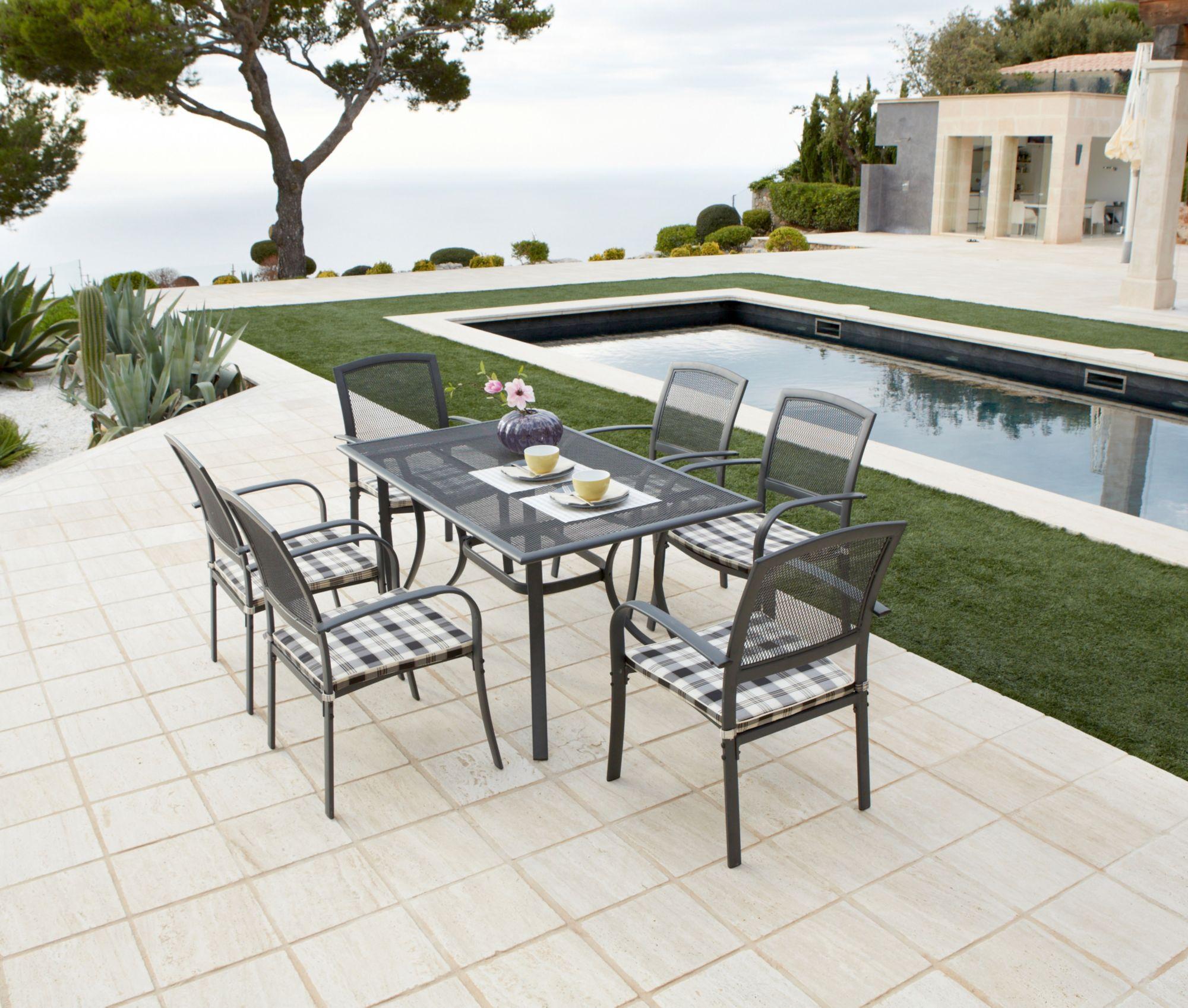13-tgl. Gartenmöbelset »Montreal«, 6 Sessel + Auflagen, Tisch, Alu/Textil, schwarz-weiß