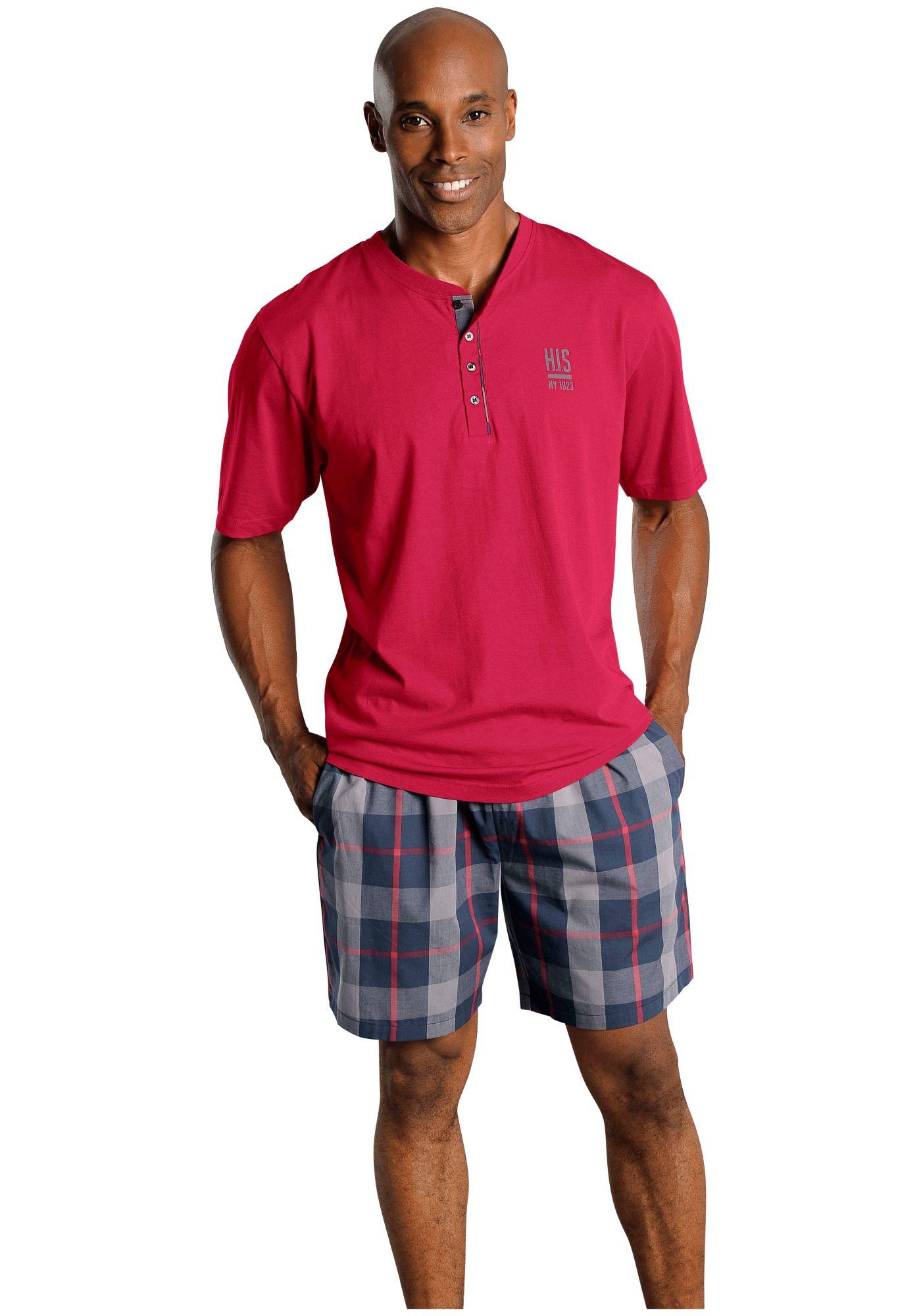 HIS H.I.S Shorty Pyjama aus Baumwolle mit Rundhalsausschnitt