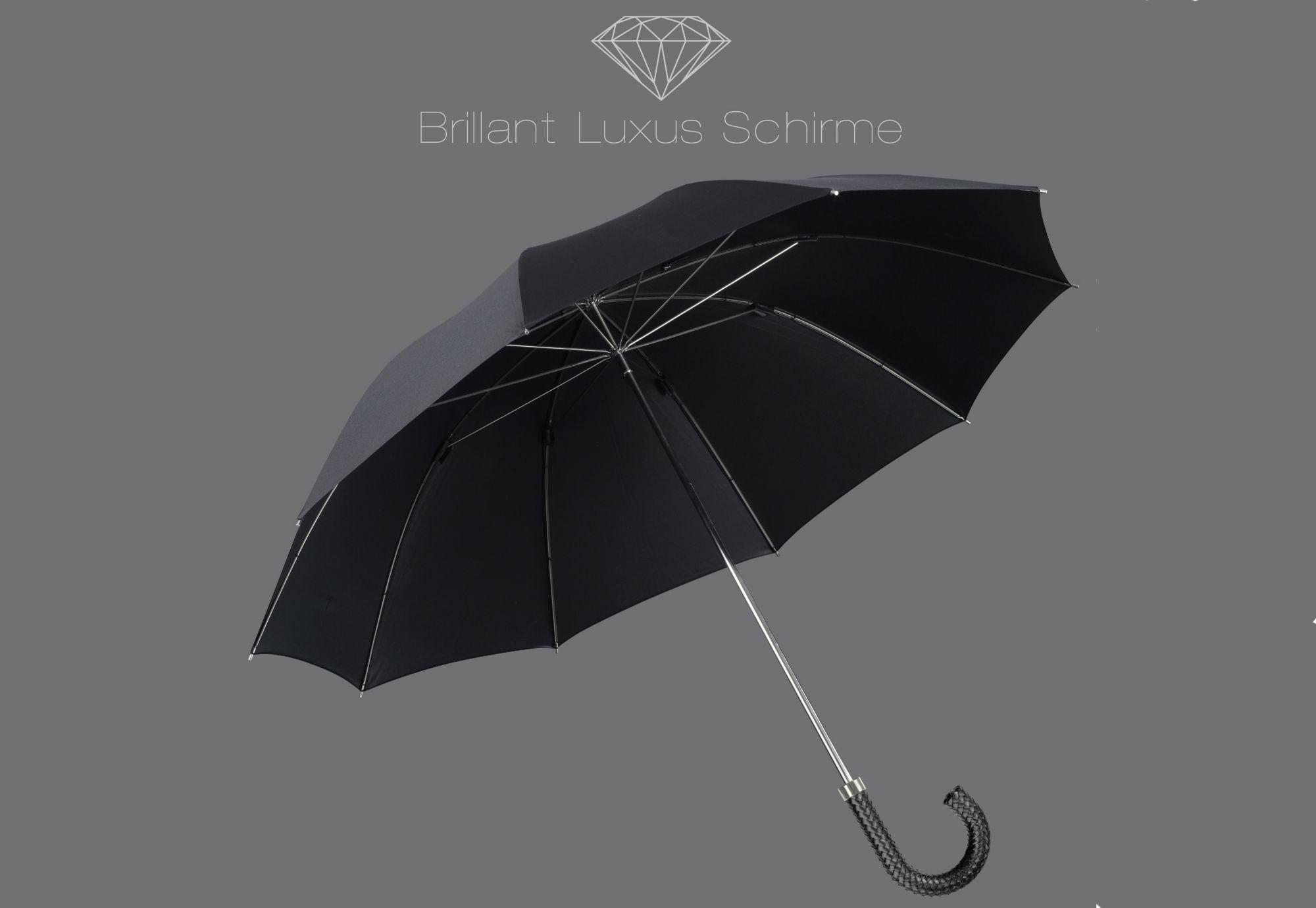 EUROSCHIRM® Euroschirm® Regenschirm mit Flechtleder-Griff, »Brillant Luxus Herrenschirm«