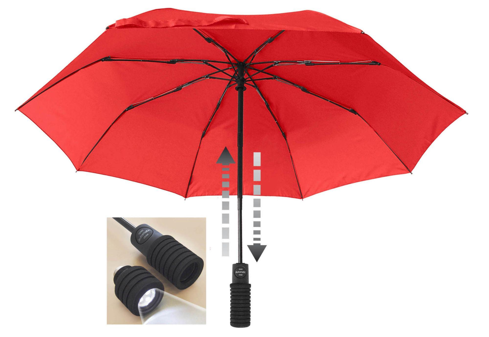 EUROSCHIRM® Euroschirm® Regenschirm mit Taschenlampe, »light trek automatic FLASHLITE«