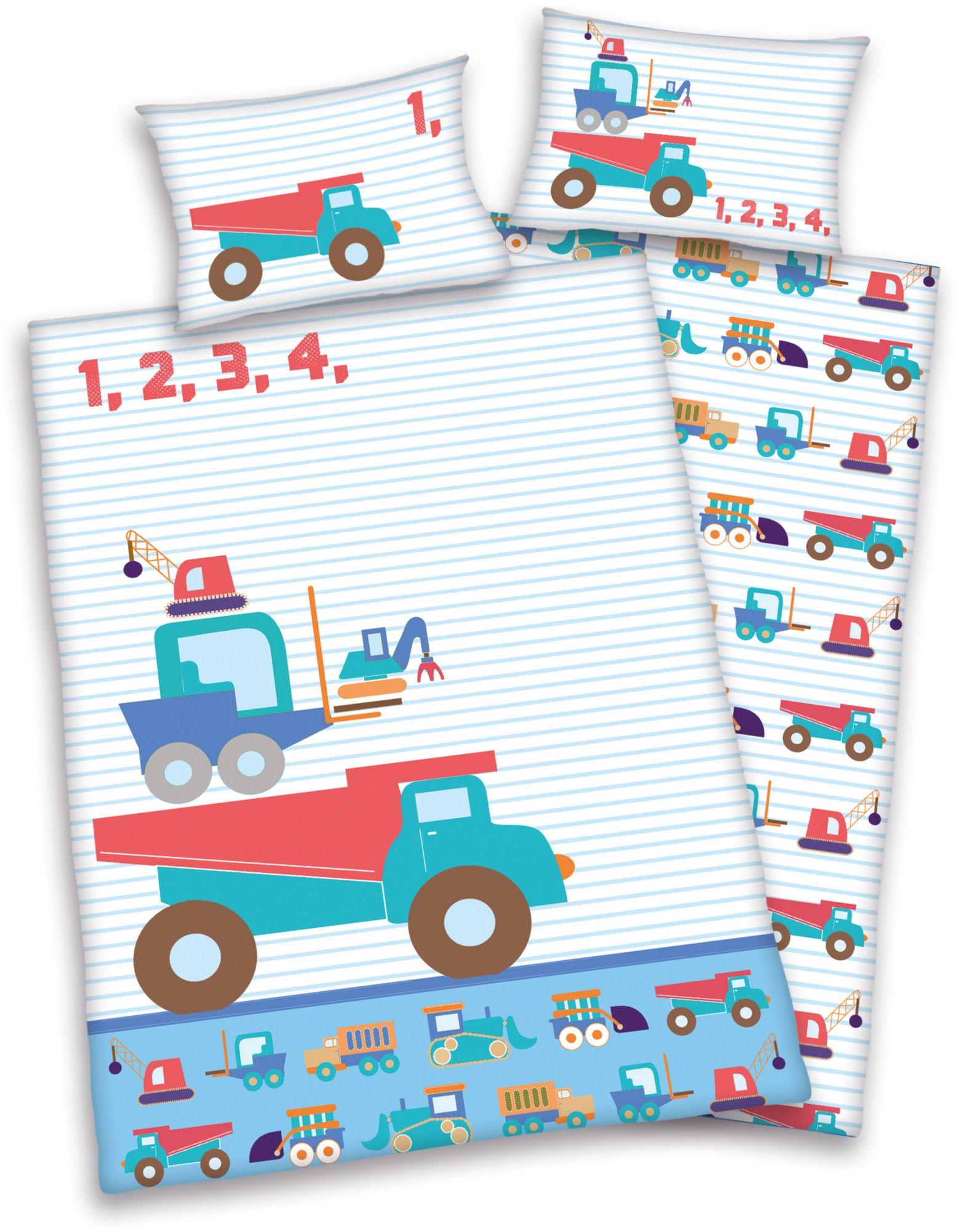 BABY BEST® Babybettwäsche, baby best®, »Little Machines«, mit Baustellen-Fahrzeugen
