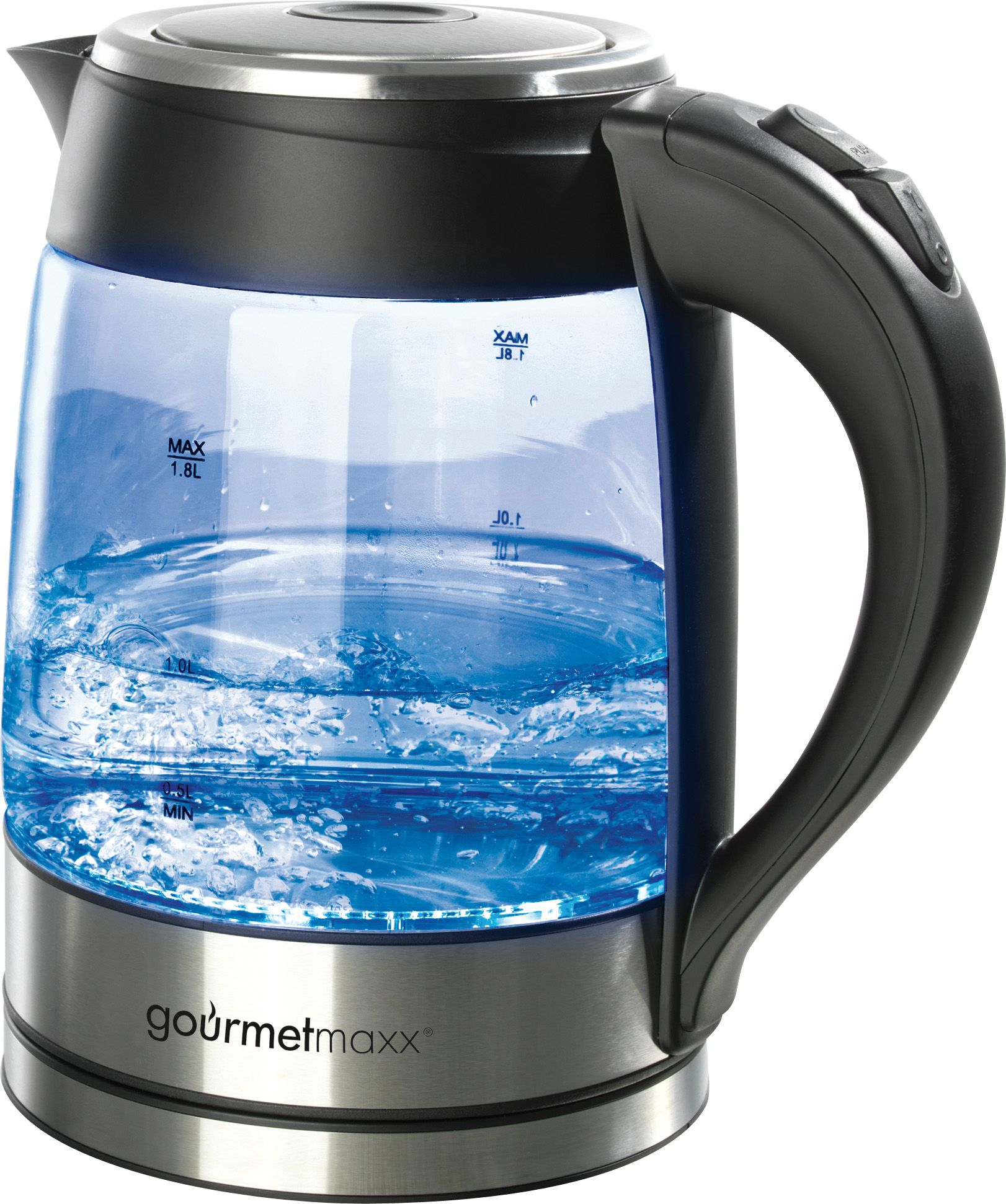 GOURMETMAXX gourmetmaxx LED Glas-Wasserkocher, 1,8 Liter, 2200 Watt, schwarz