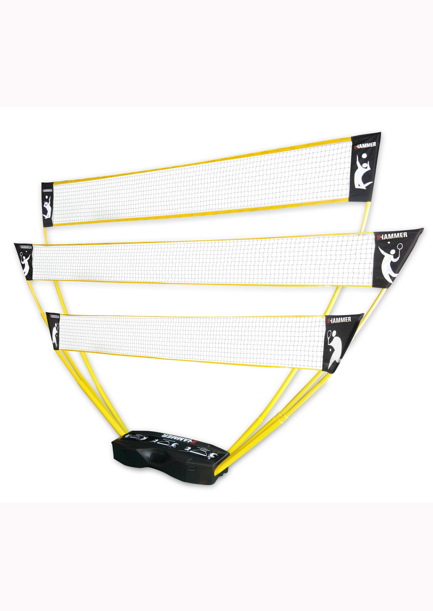 HAMMER 3in1 Netz-Set, für Volleyball, Badminton & Tennis, Hammer