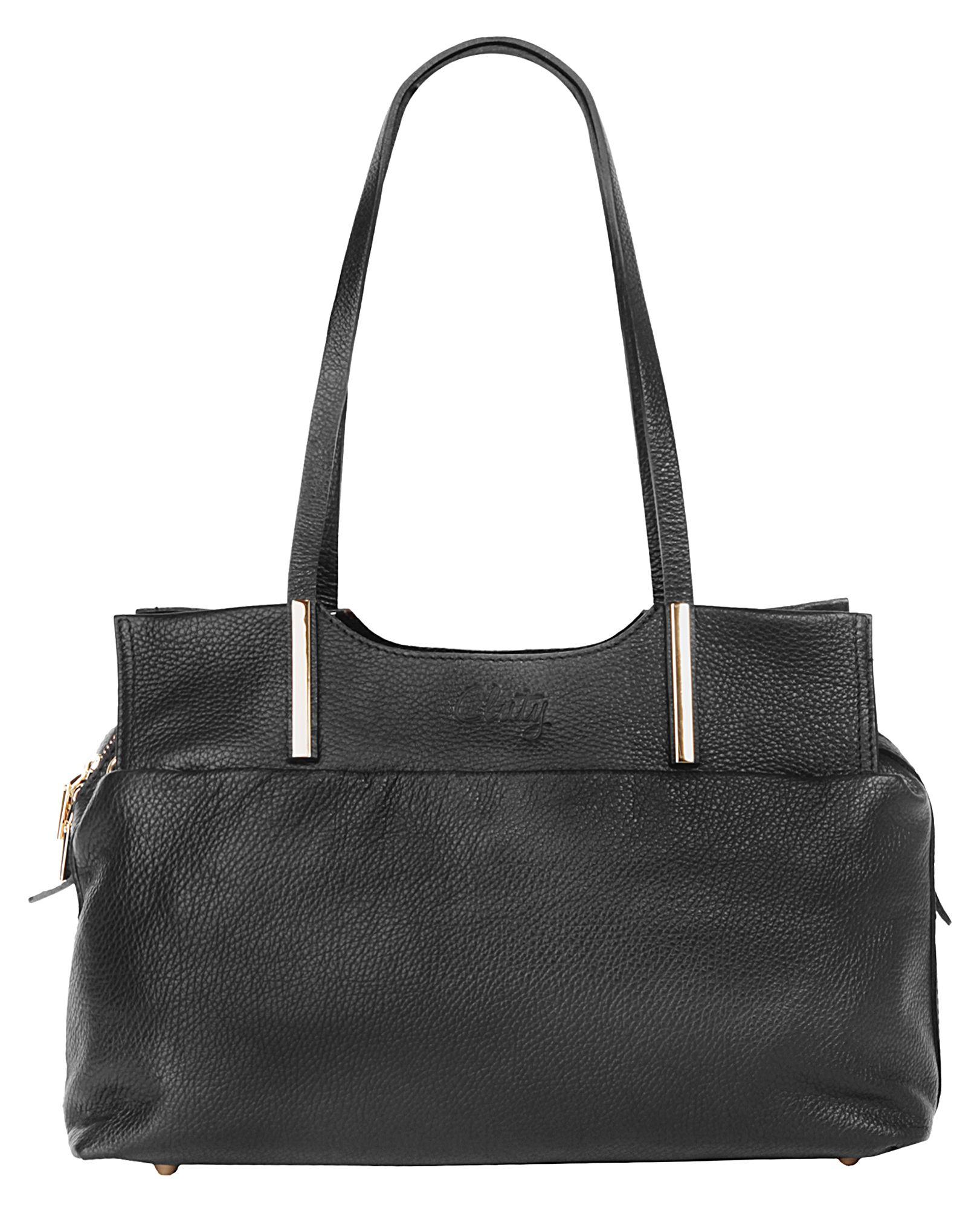 CLUTY Cluty Leder Damen Handtasche mit goldfarbenen Beschlägen