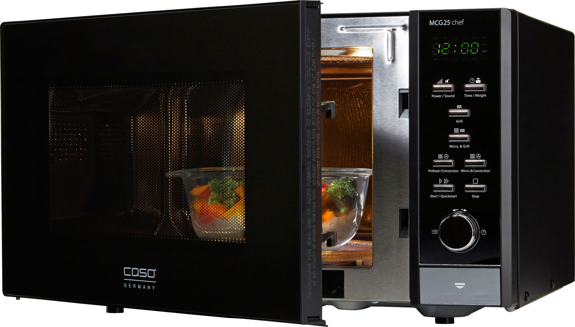 CASO DESIGN CASO Design Mikrowelle MCG25 Chef Black, mit Grill und Heißluft, 25 Liter Garraum, 900 Watt