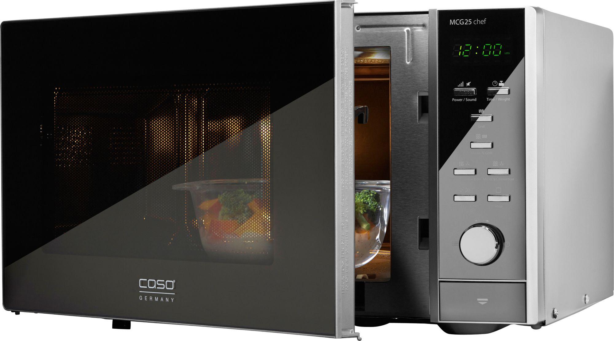 CASO DESIGN CASO Design Mikrowelle MCG25 Chef, mit Grill und Heißluft, 25 Liter Garraum, 900 Watt
