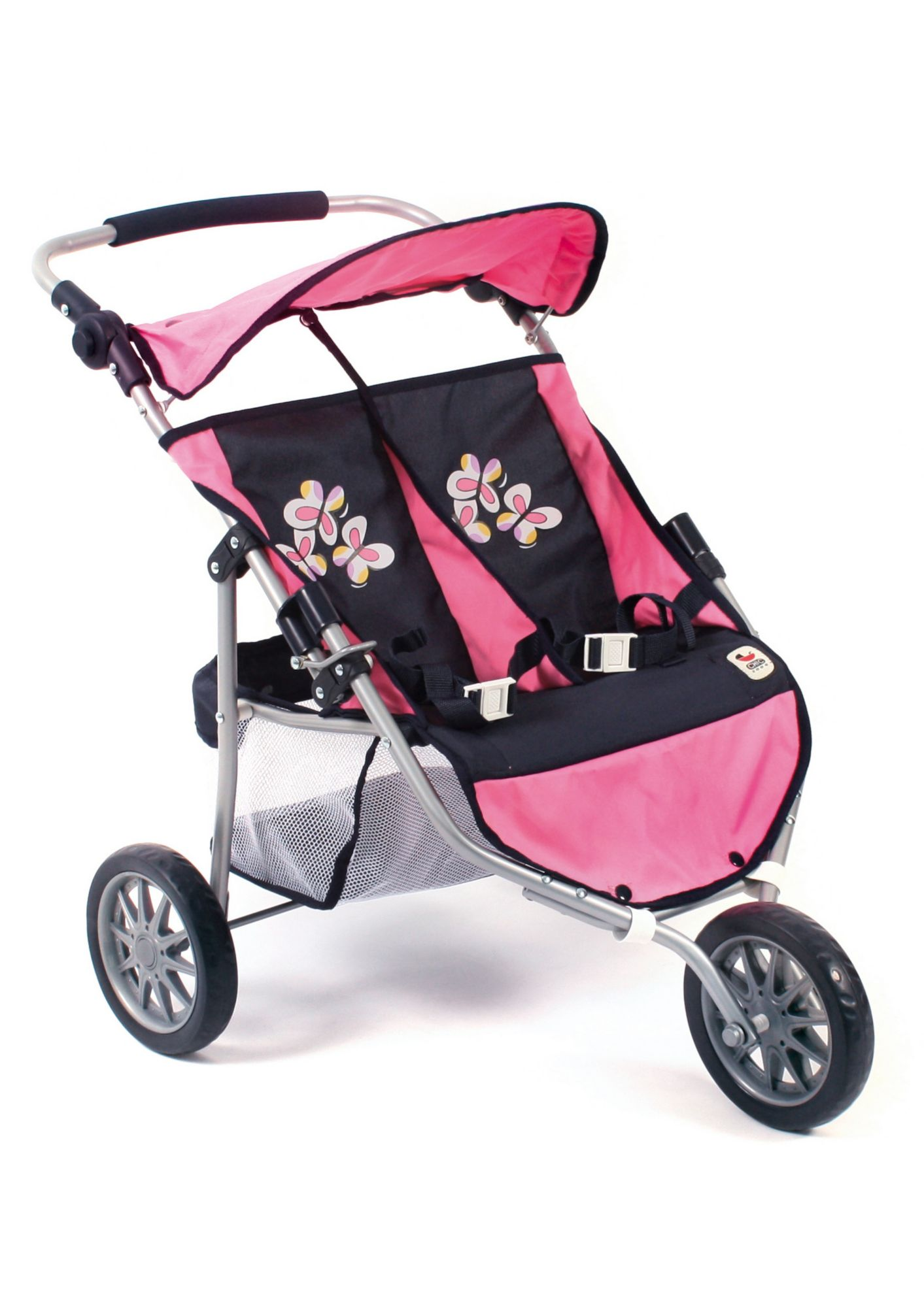 CHIC2000 CHIC 2000, 3-Rad-Puppen-Buggy »Zwillings-Jogger, pink checker«