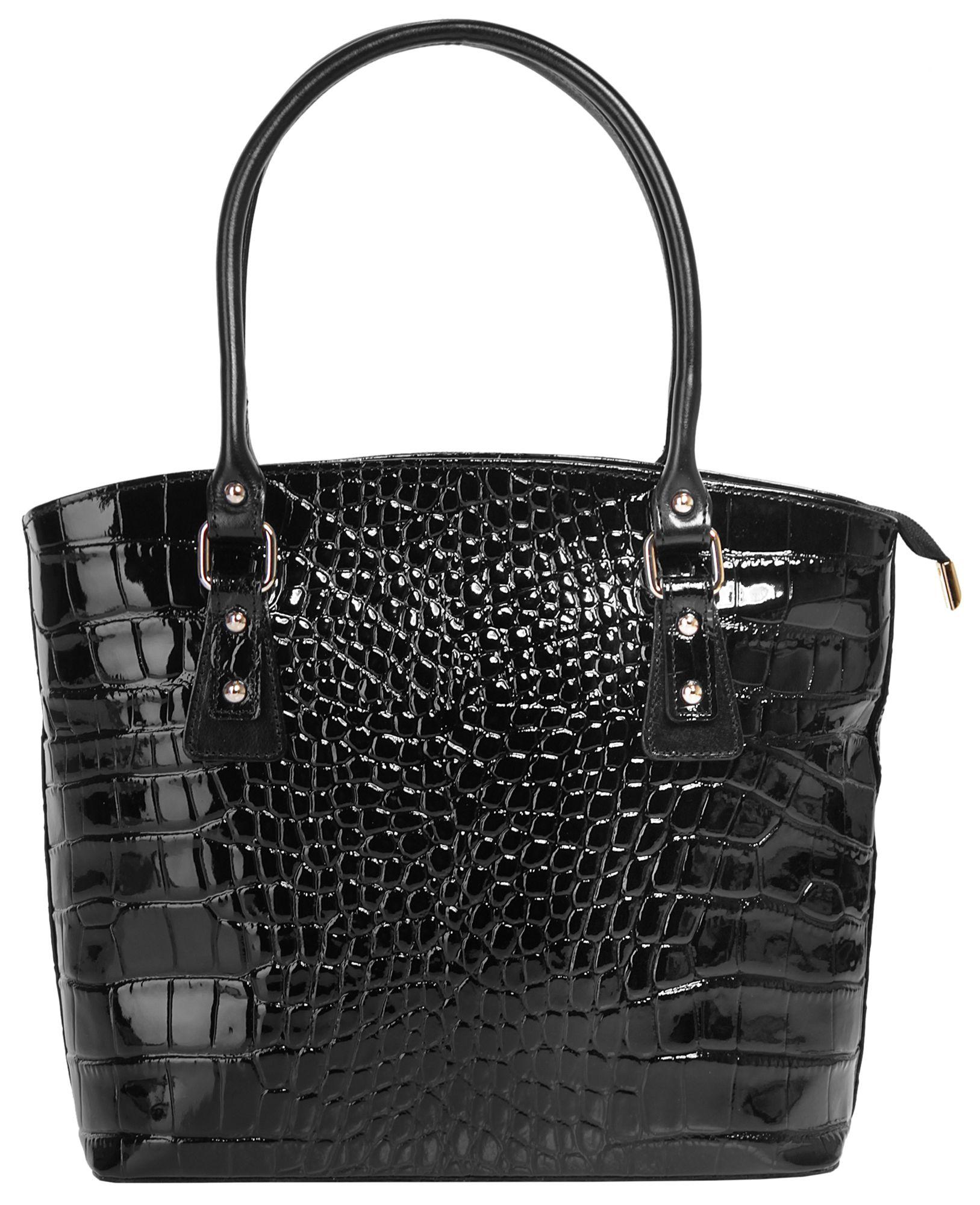 CLUTY Cluty Leder Damen Handtasche mit Croco-Prägung