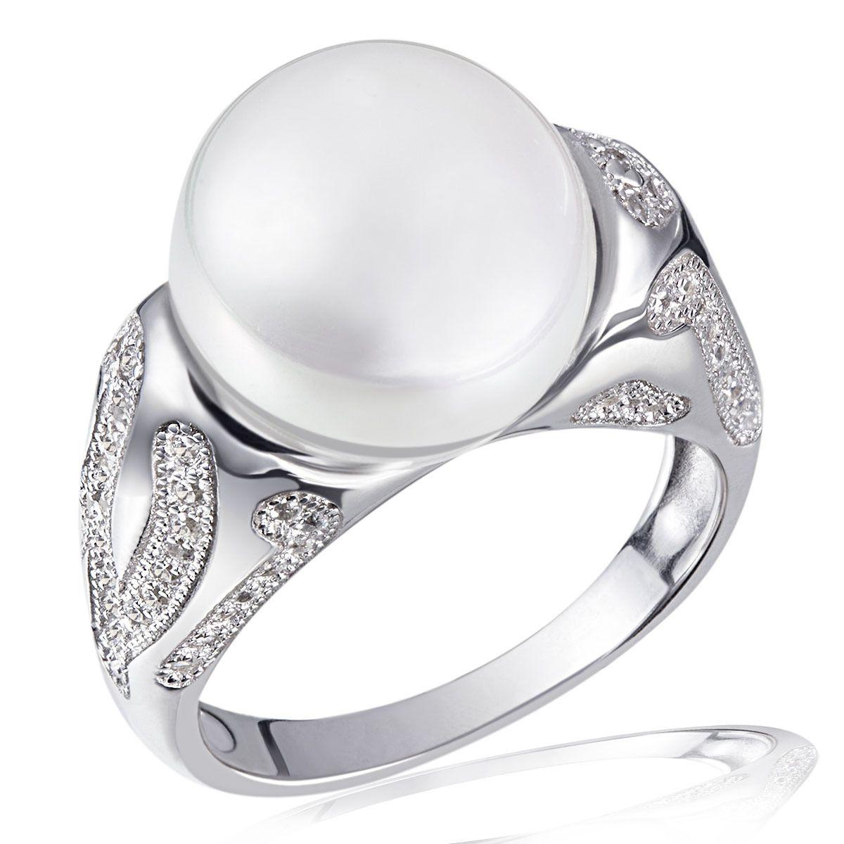 AVERDIN Averdin Damenring 925/-  Silber 1 Glasperle 81 weiße Zirkonia