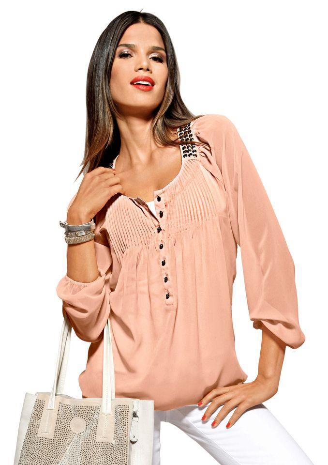 CLASSIC INSPIRATIONEN Classic Inspirationen Bluse mit breiter Rundhals-Blende