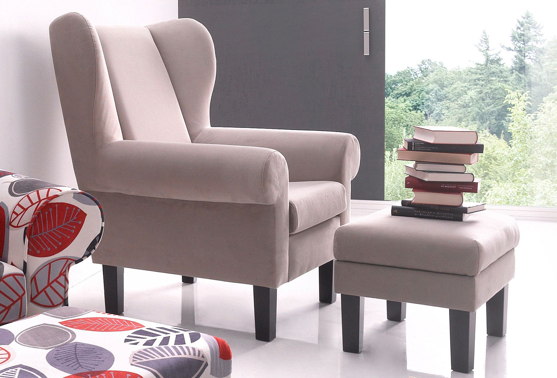 ATLANTIC HOME COLLECTION Ohrensessel, Atlantic Home Collection, mit Hocker