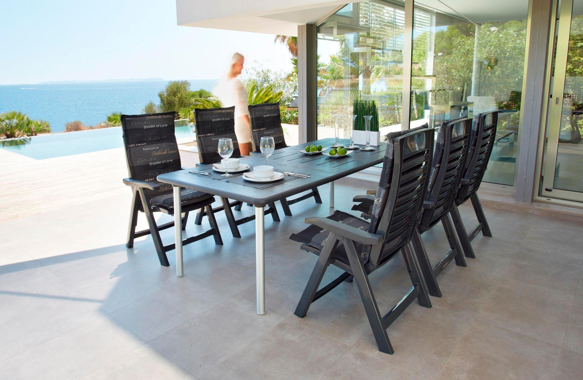 BEST Best 13-tgl. Gartenmöbelset »Tavolo«, 6 Sessel, Tisch 160x220 cm, Kunststoff, anthrazit, inkl. Auflagen