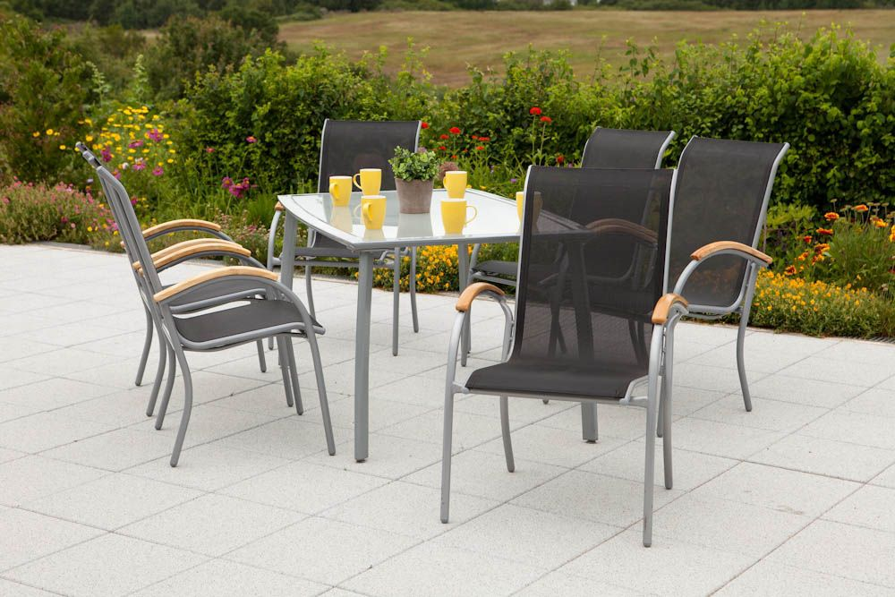 7-tgl. Gartenmöbelset »Siena«, 6 Sessel, 1 Tisch 150x90cm, Alu/Textil, stapelbar
