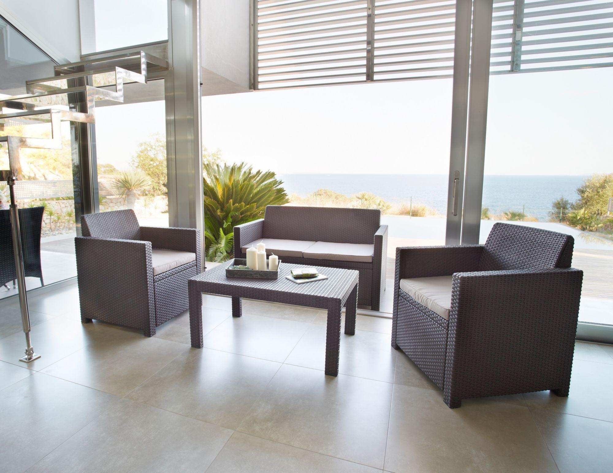 8-tgl. Loungeset »Merano«, 2er-Sofa, 2 Sessel, Tisch 91x48,5 cm, Kunststoff, braun