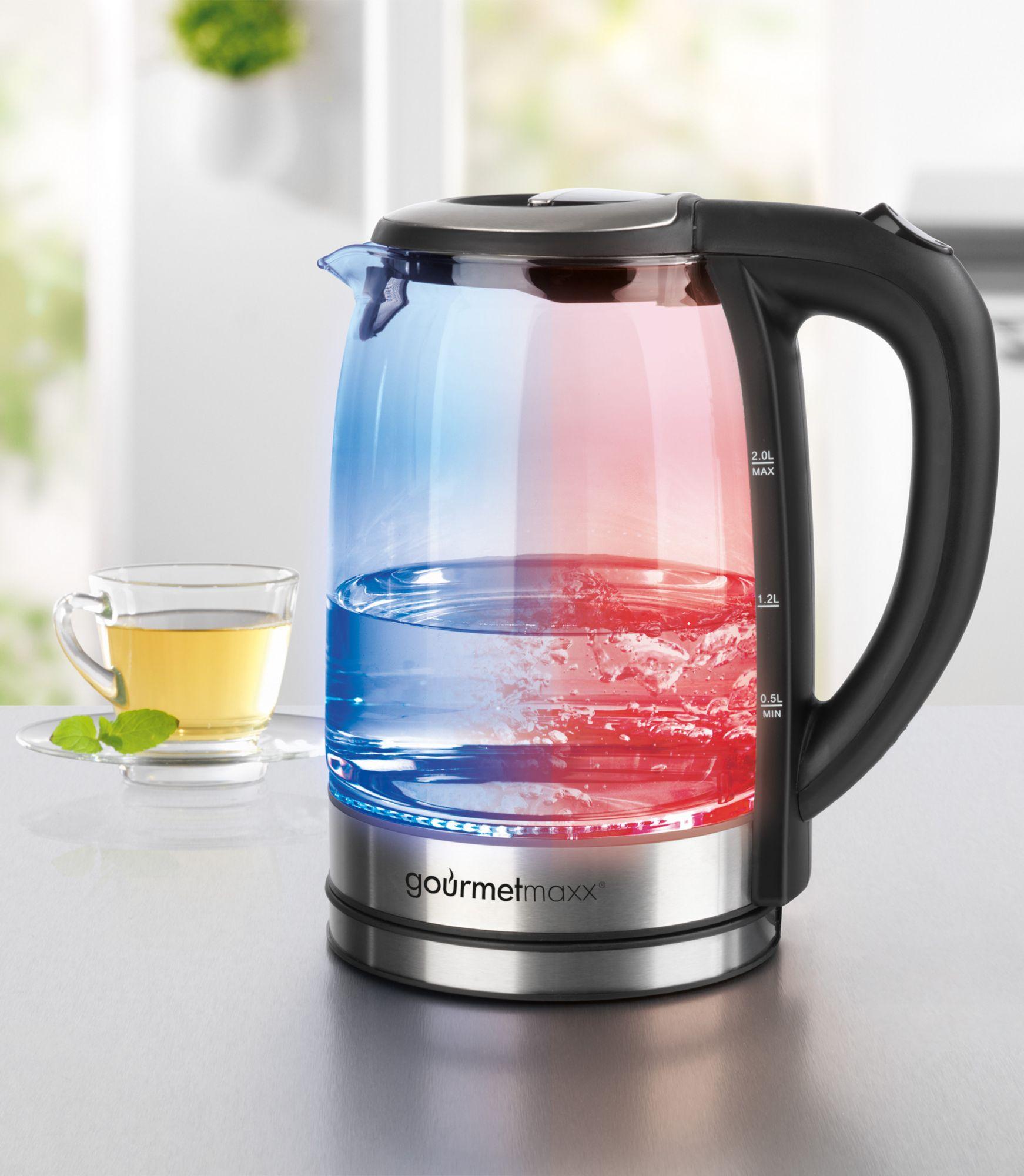GOURMETMAXX gourmetmaxx Glas-Wasserkocher mit LED-Farbwechsel, 2 Liter, 2200 Watt