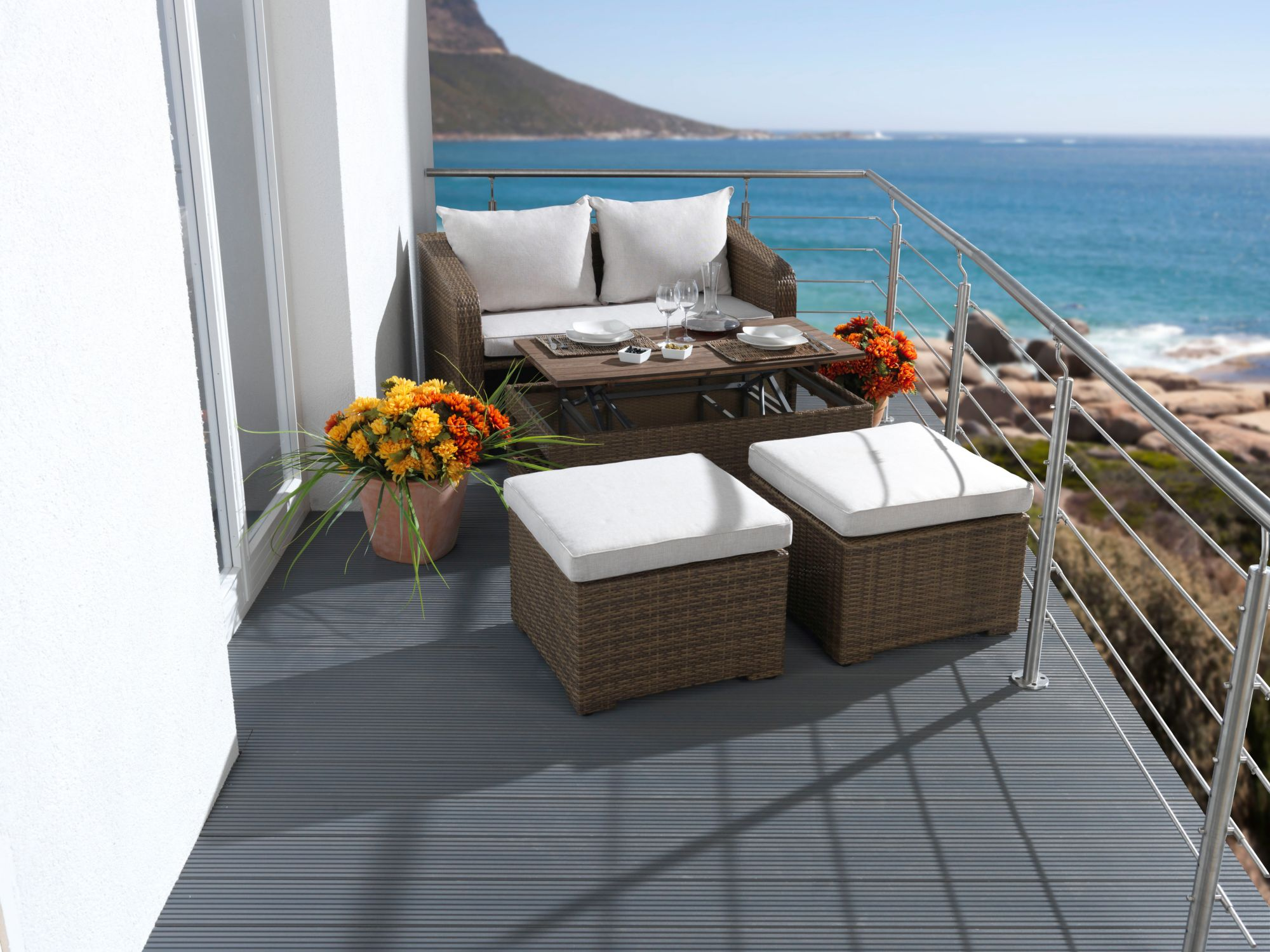 DESTINY  Loungeset »Jersey«, 2er-Sofa, 2 Hocker, Tisch 108x58 cm, Polyrattan