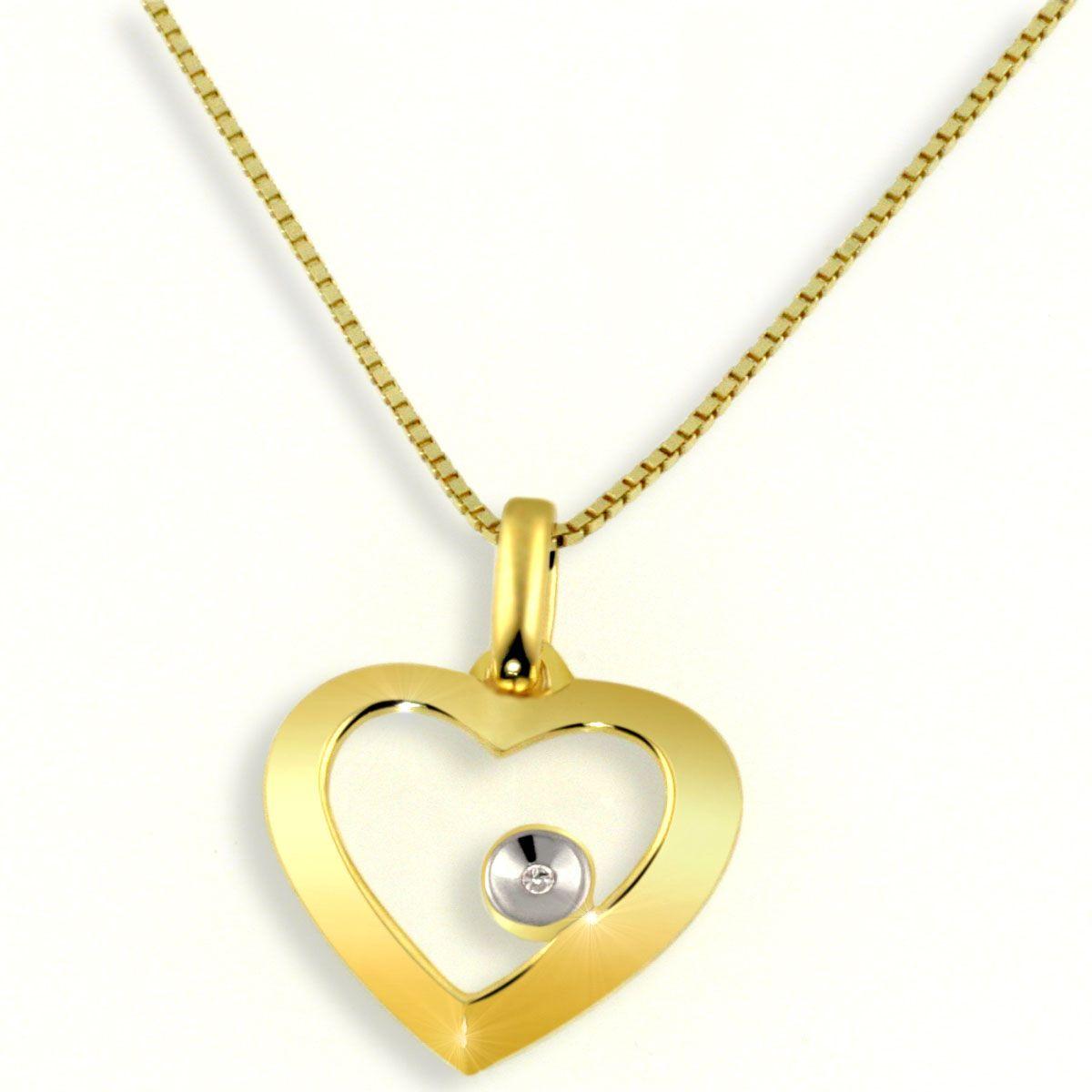 AVERDIN Averdin Collier Gelbgold 585/- Herz mit Diamant