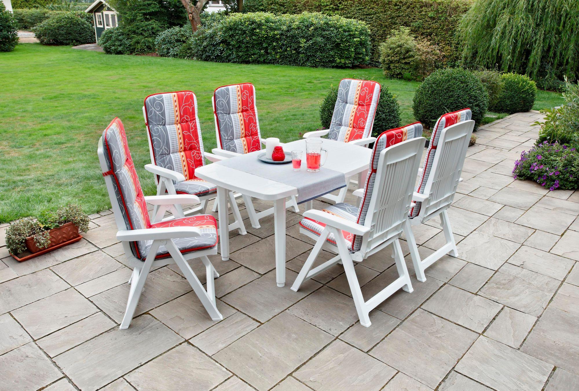 BEST Best 13-tgl. Gartenmöbelset »Kopenhagen«,6 Sessel,Tisch 140x85 cm,Kunststoff,weiß,inkl. Auflagen,klappbar