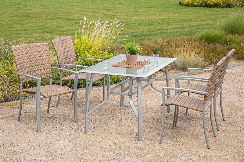 5-tgl. Gartenmöbelset »Savonna«, 4 Sessel, Tisch 135x80 cm, Alu/Kunststoff, beige-braun