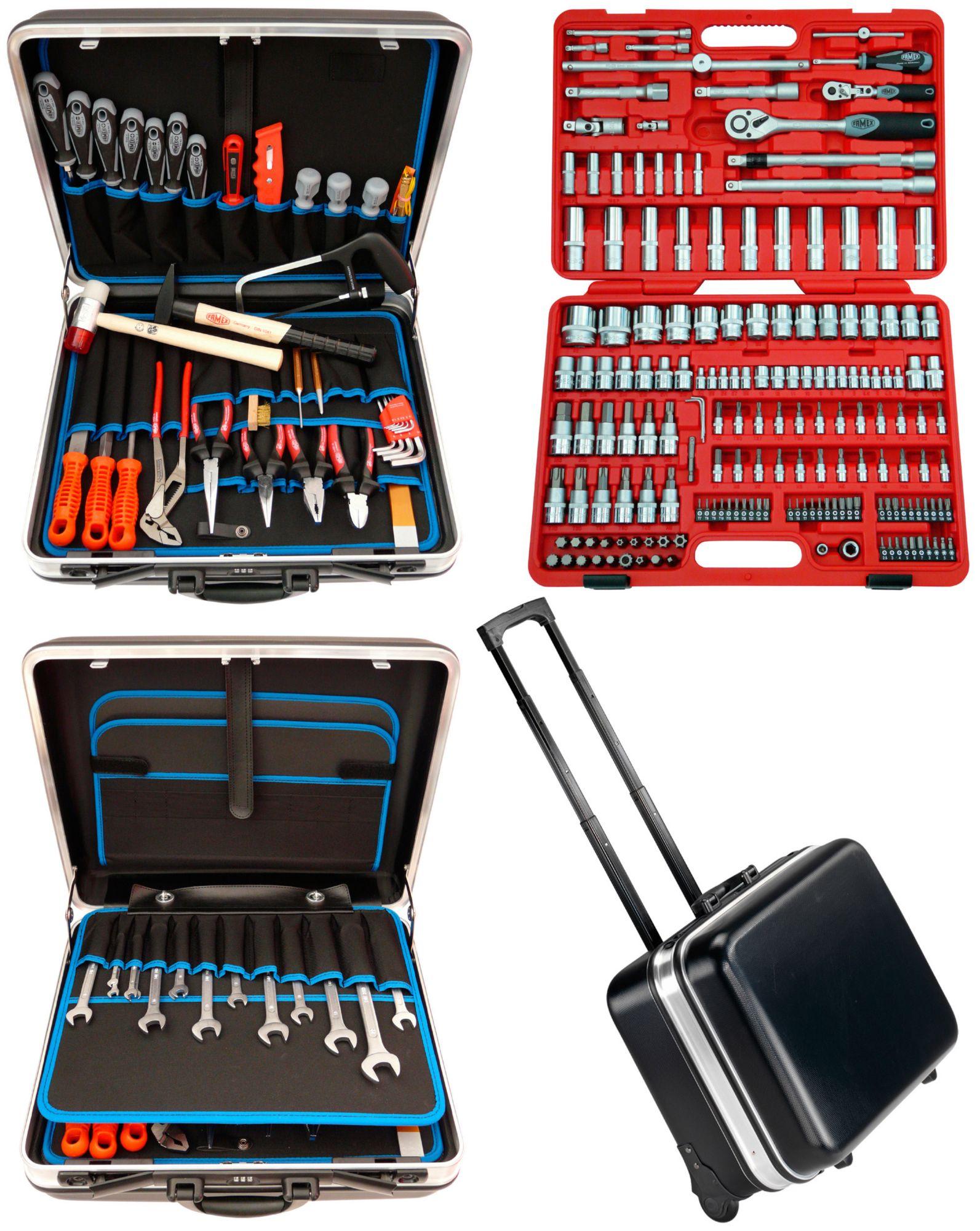 FAMEX Famex Trolley ABS Werkzeugkoffer Set »Famex 606-09« mit 174tlg. Steckschlüsselsatz