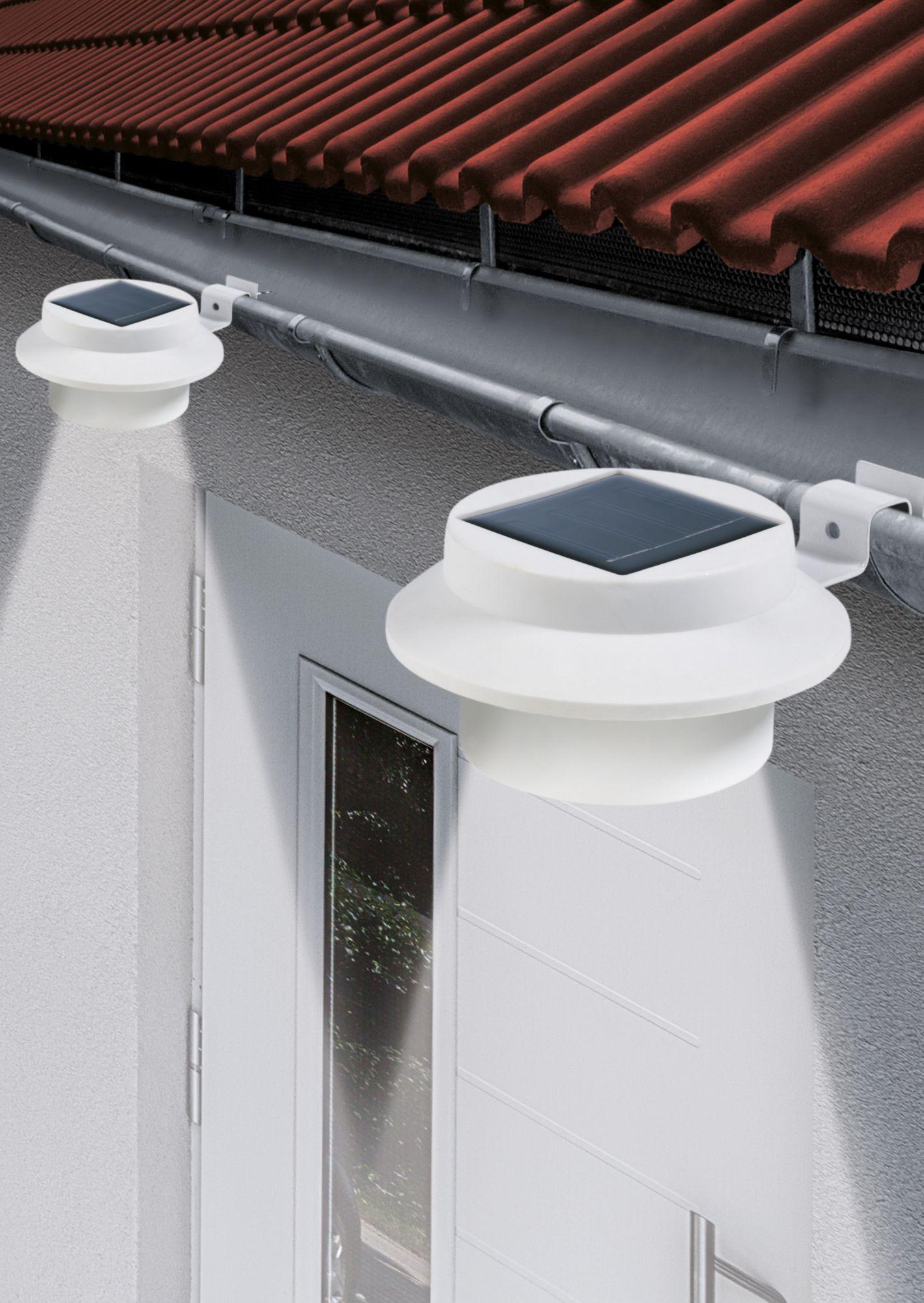 EASY MAXX EASYmaxx Solar-Dachrinnenleuchten 3er-Set, weiß