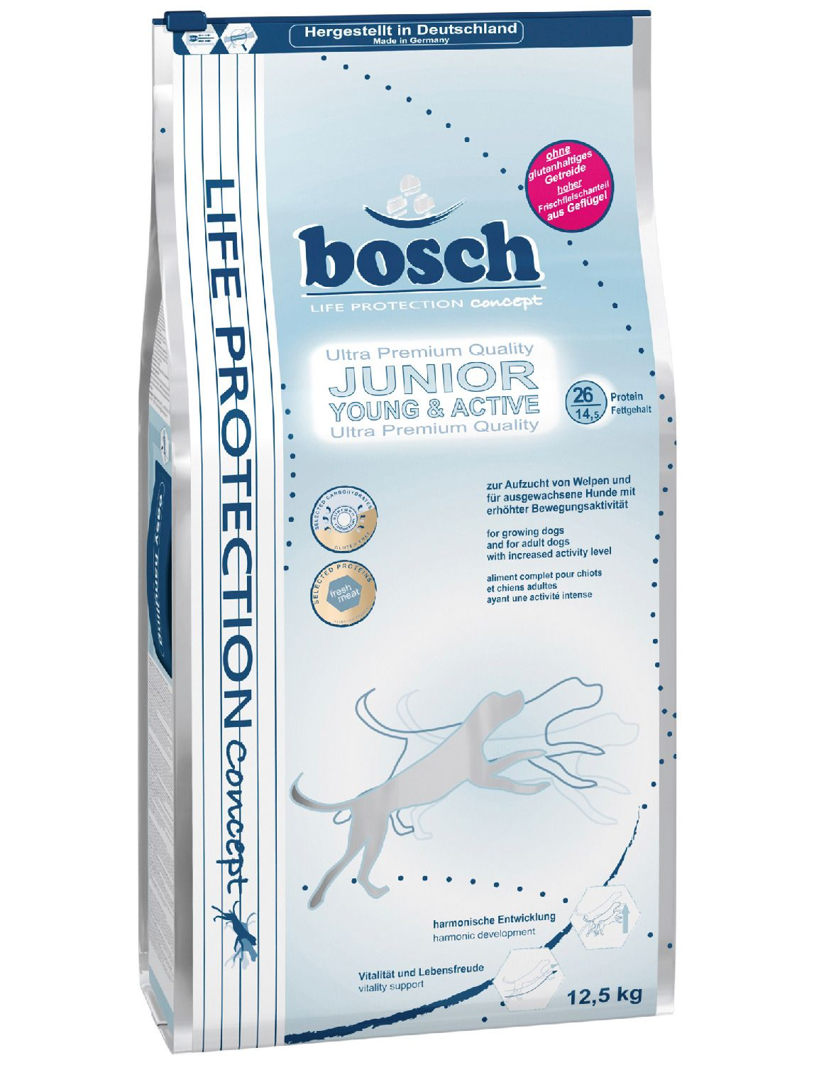 BOSCH PETFOOD Bosch Petfood Hundetrockenfutter »Junior Young & Active«, 3,75 kg oder 12,5 kg
