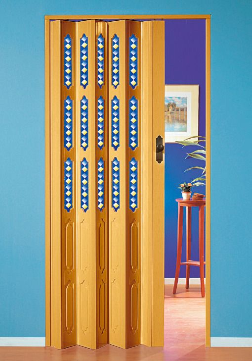 Kunststoff-Falttür »Dekor 3 Sole«, BxH: 88,5x202 cm, Buchefarben mit Motiv im Fenster