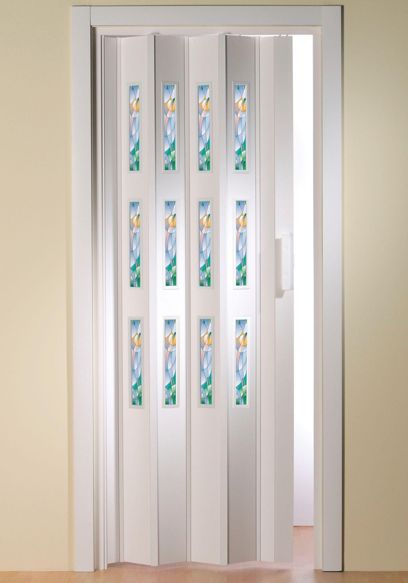 Kunststoff-Falttür »Dekor 5 Mosaik«, BxH: 88,5x202 cm, mit dekorativem Motiv im Fenster