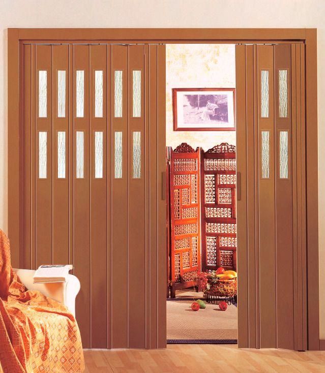 Kunststoff-Falttür »Luciana«, BxH: 88,5x202 cm, Buchefarben mit Fenstern in Riffelstruktur