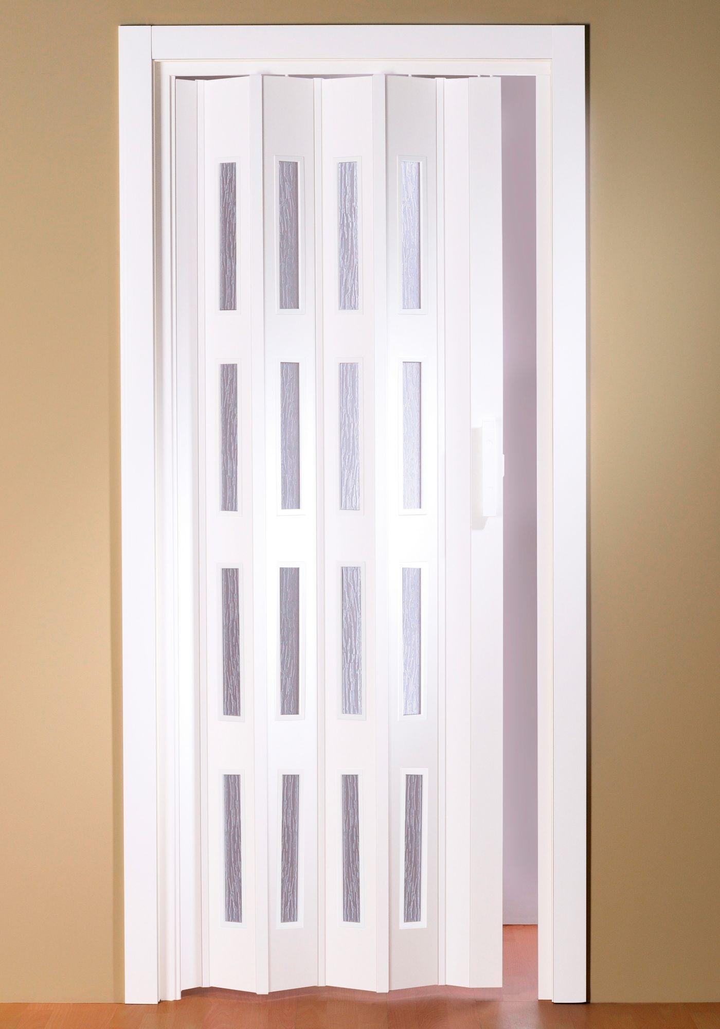 Kunststoff-Falttür »Luciana«, BxH: 88,5x202 cm, Weiß mit Fenstern in Riffenstruktur