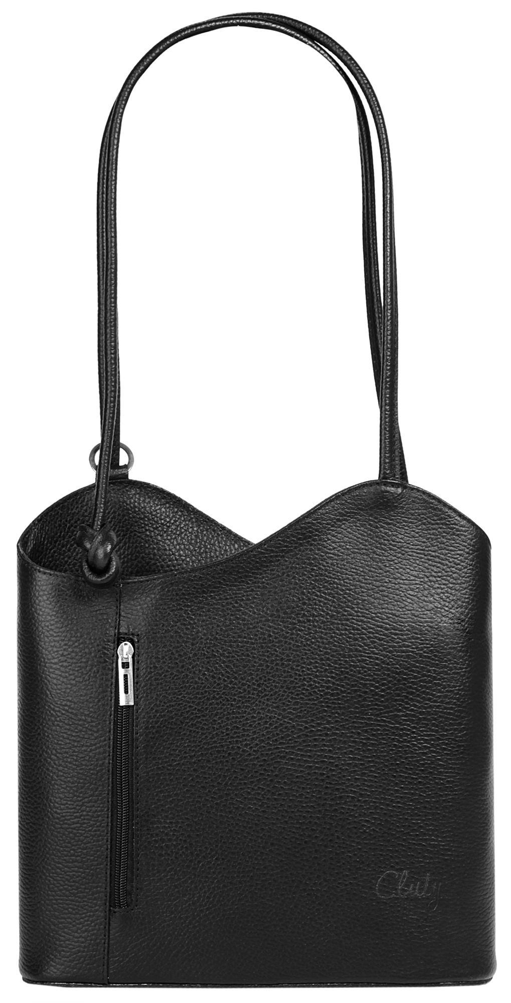 CLUTY Cluty Leder Damen Shopper Rucksack Kombination