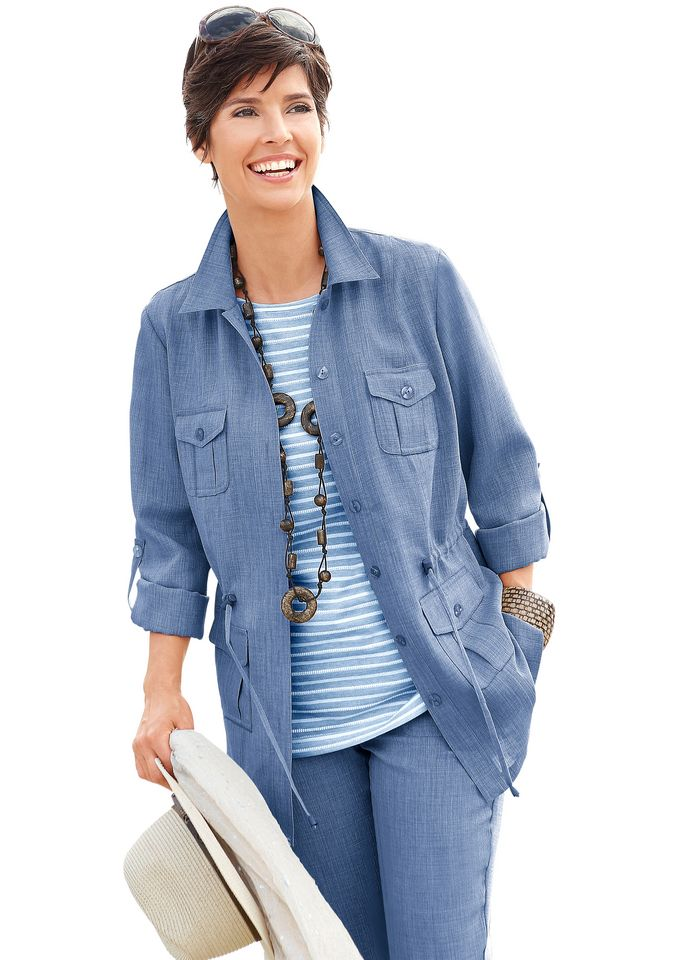 COLLECTION L Collection L. Blusenjacke in Leinen-Optik