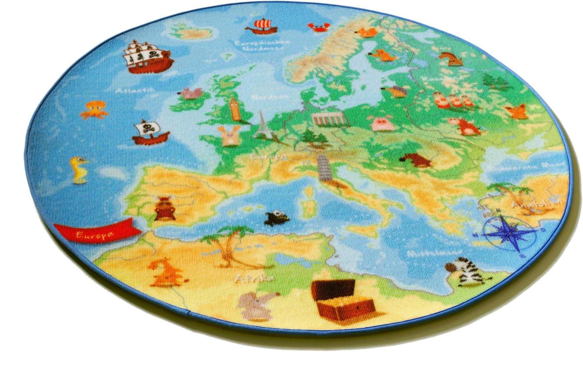 BÖING CARPET Kinder-Teppich, Böing Carpet, Rund, »Europakarte EU-1«