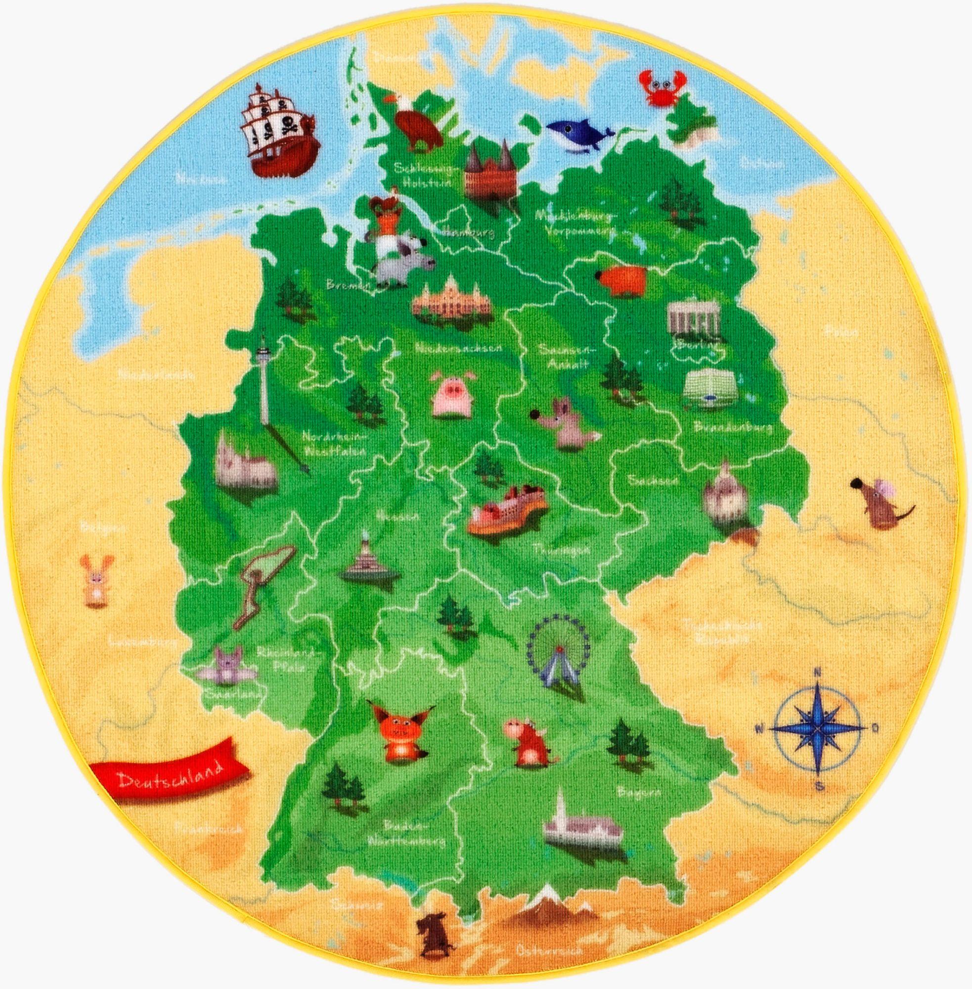 BÖING CARPET Kinder-Teppich, Böing Carpet, »DeutschlandKarte DE-1«, Rund