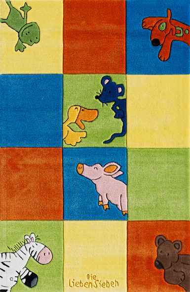 DIE LIEBEN SIEBEN Kinder-Teppich, Die Lieben Sieben, »LS-2197-01«, handgetuftet, Konturenschnitt