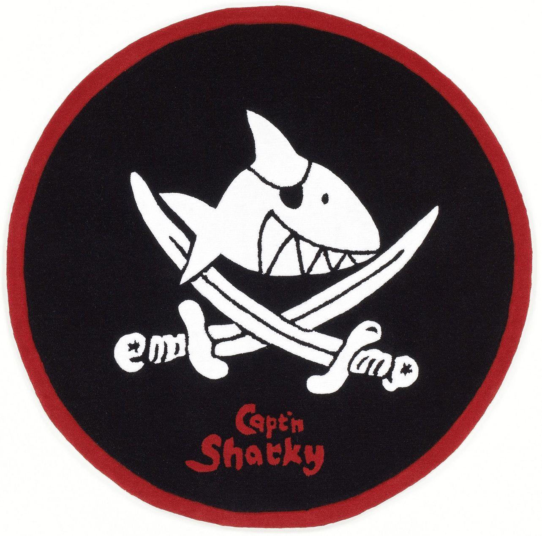 CAPTN SHARKY Kinder-Teppich, Rund, Capt'n Sharky, »SH-2360-01«, handgetuftet, Konturenschnitt