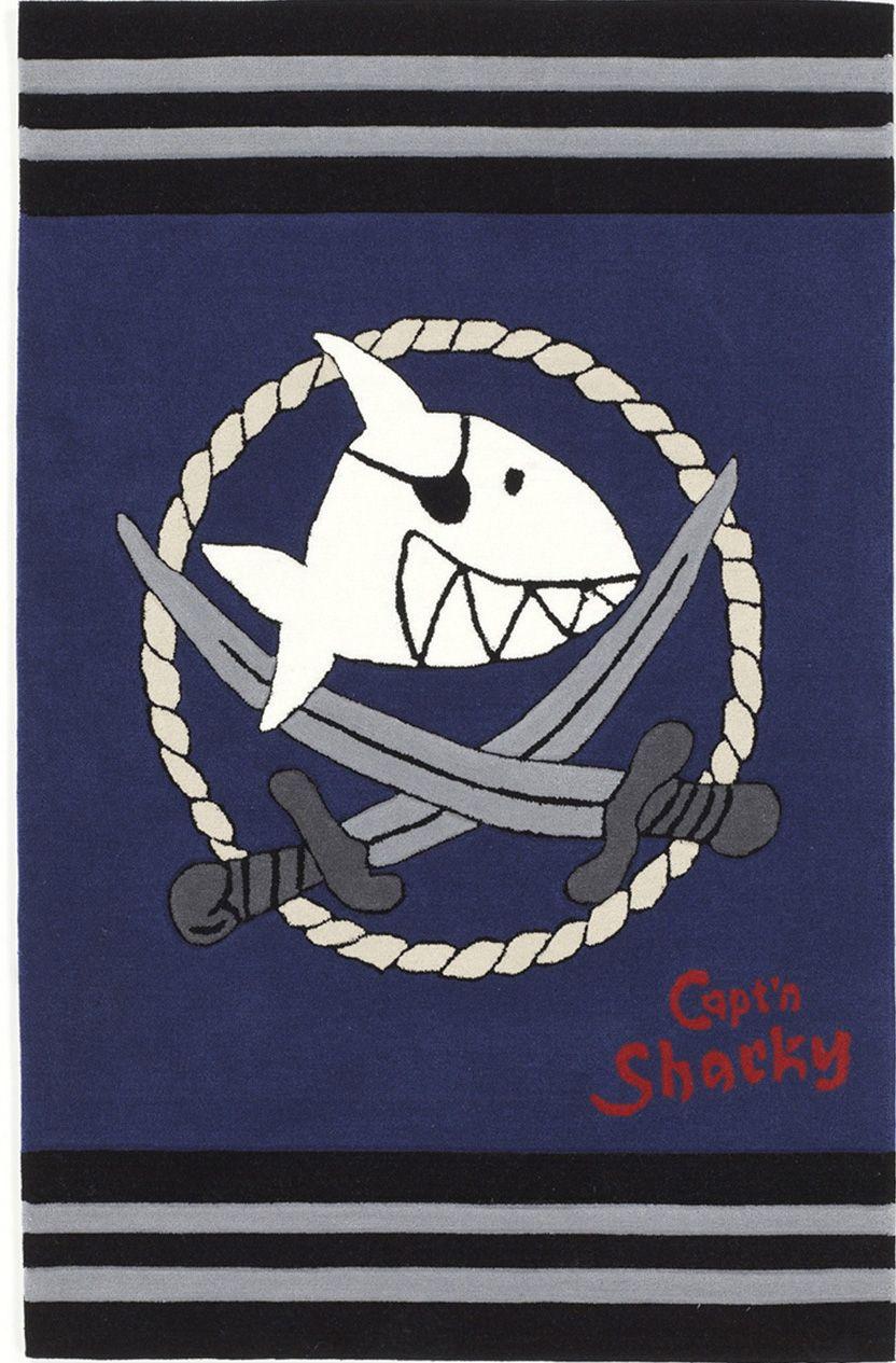 CAPTN SHARKY Kinder-Teppich, Capt'n Sharky, »SH-2937-01«, handgetuftet, Konturenschnitt