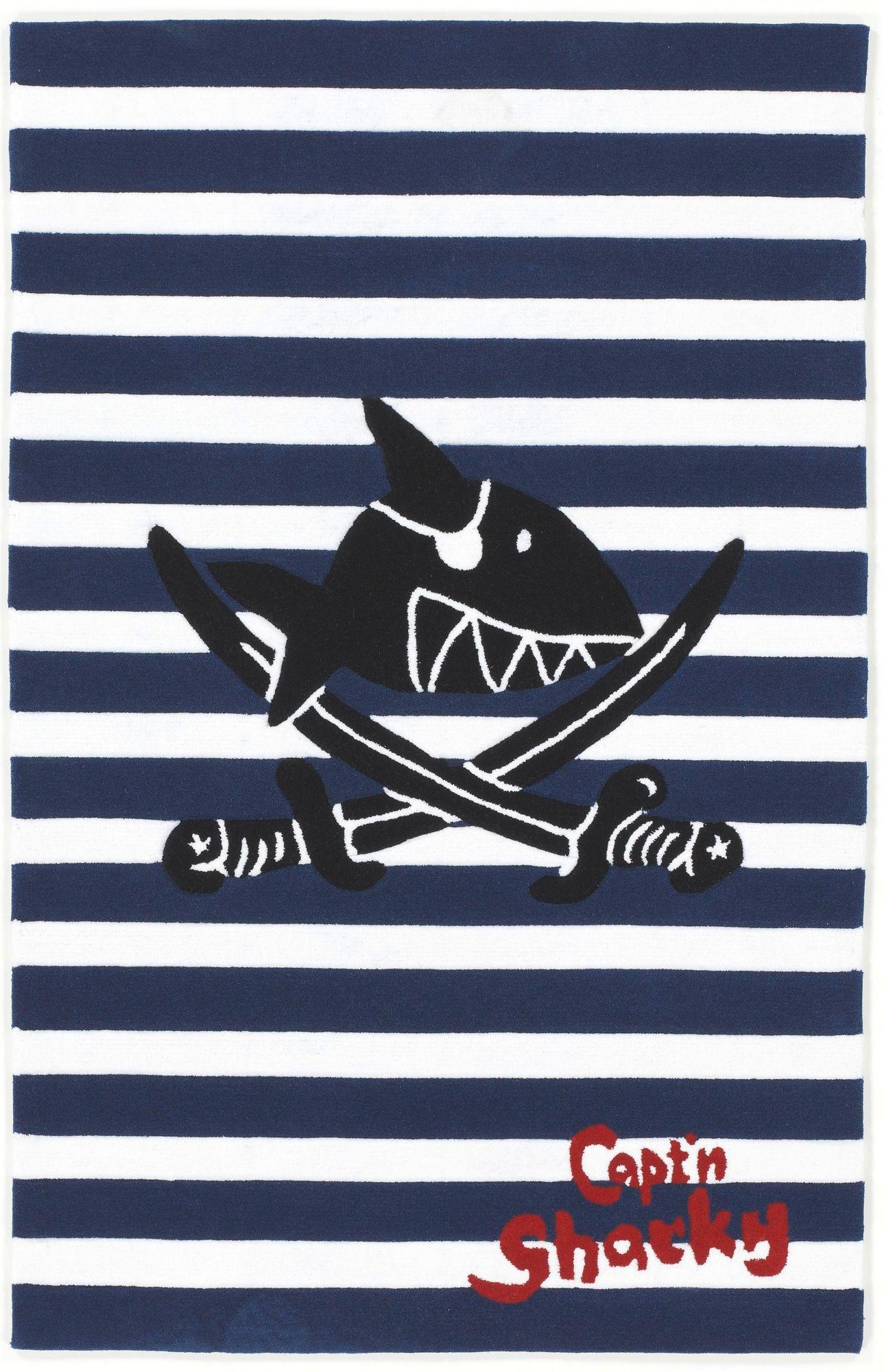CAPTN SHARKY Kinder-Teppich, Capt'n Sharky, »SH-2361-01«, handgetuftet, Konturenschnitt
