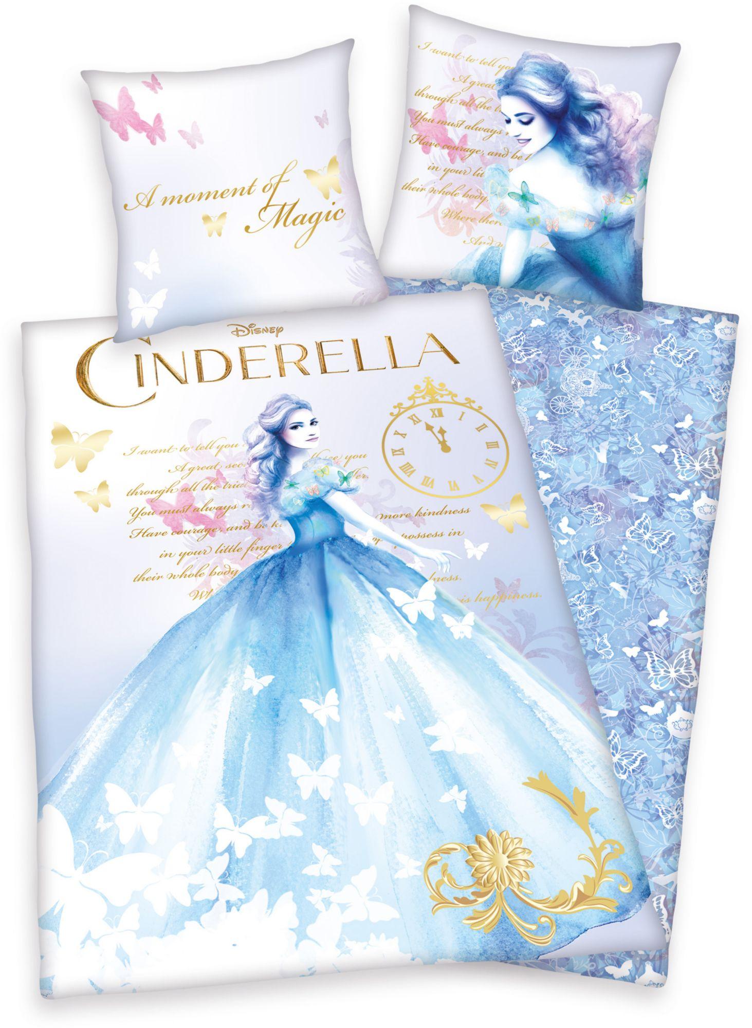 DISNEY Bettwäsche, Disney, »Cinderella«, edle Farbtöne